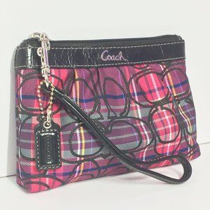 Coach Signature Canvas Patent Leather Trim Wallet